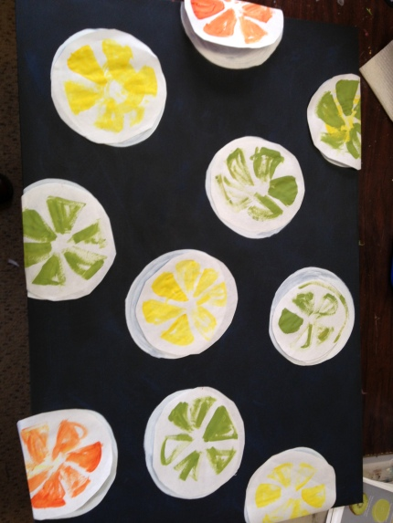 Step 2 - Placement design. Cutouts of the slices to give me an idea of where to place each colored fruit.